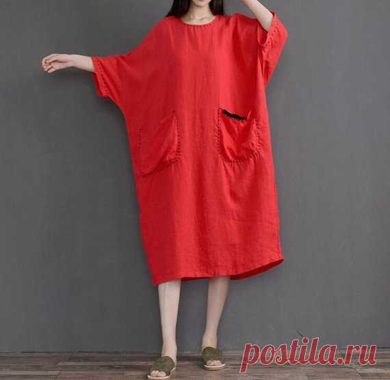 maxi linen dress in red loose fitting dress oversized dress