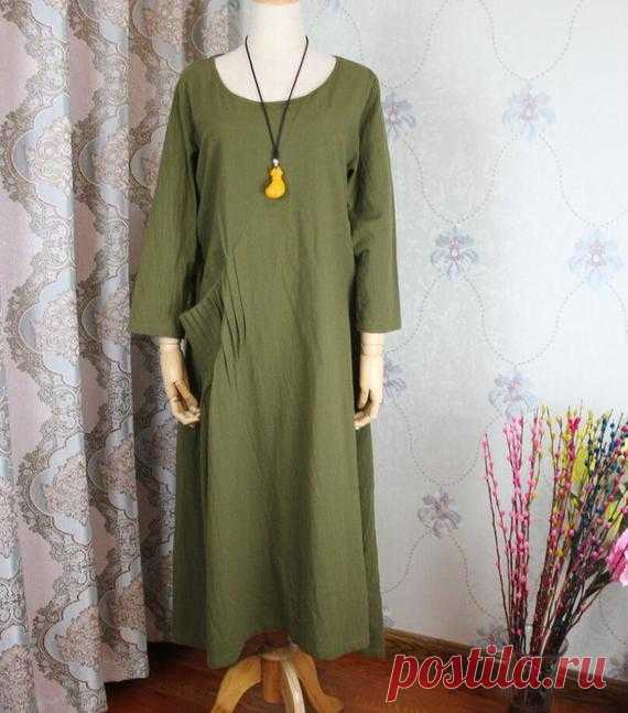 Linen midi Dress olive green Dresses Linen Kaftan Women | Etsy 【Fabric】 Cotton, linen 【Color】 olive green 【Size】 Shoulder width 43cm / 17 Sleeve length 48cm / 19 Bust 110cm / 43 Cuff circumference 26cm/ 10 Length 110cm / 43  Have any questions please contact me and I will be happy to help you.