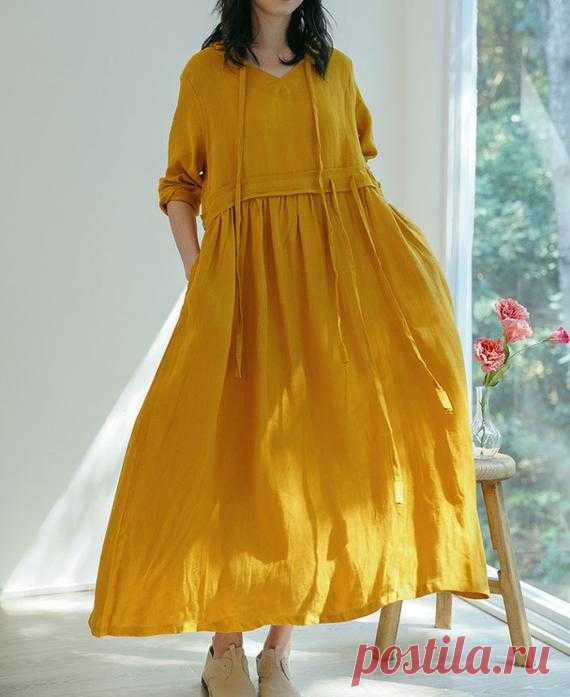Women long dress Linen Dresses for women maxi dress Prom | Etsy 【Fabric】  linen 【Color】 Yellow, purple 【Size】 Shoulder 40cm / 16  Sleeve 49cm / 19 Big Arm circumference 38cm / 15 Cuff circumference 28cm/ 11 Bust 110cm / 43 Waist 104cm / 41 Length 125cm / 49    Washing & Care instructions: -Hand wash or gently machine washable do not tumble dry -Gentle wash cycle
