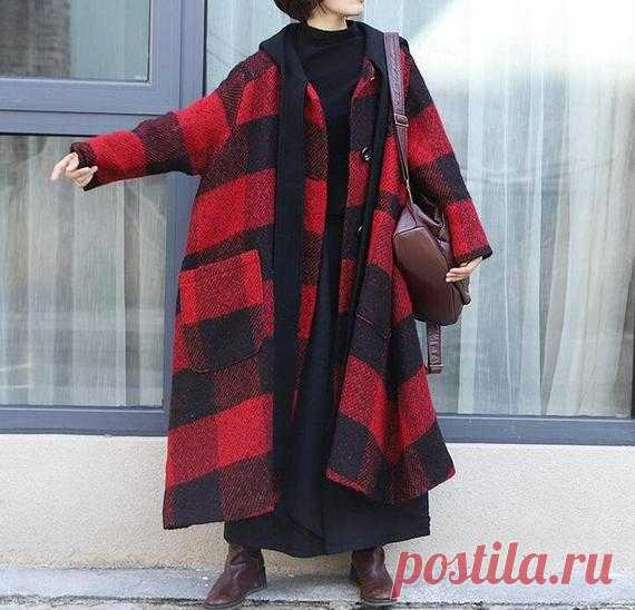 Winter wool coat womens Hooded Wool coat Oversized Plaid | Etsy 【Fabric】 85% woolen, 15% polyester Lining Polyester 【Color】 red 【Size】 Shoulder width 48cm / 19 Bust 150cm / 58 Sleeve length 52cm/ 20 Length 110cm/ 42   Washing & Care instructions: -Hand wash or gently machine washable do not tumble dry -Gentle wash cycle (40°C) -If you feel like ironing (although