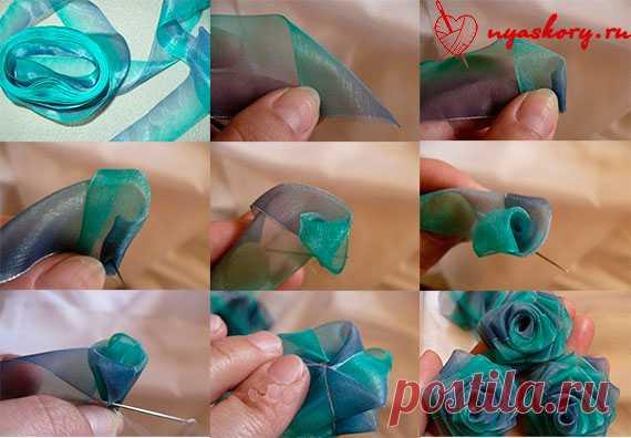 Цветок из лент своими руками мастер класс фото