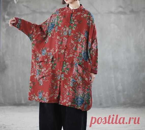 Womens cotton Retro coat plus size clothing Oversize   Etsy 【Fabric】 cotton Lining cotton 【Color】 red  【Size】 Shoulder width is not limited Shoulder + Sleeve 70cm / 27 Bust 190cm/ 74  length 98cm / 38   Washing & Care instructions: -Hand wash or gently machine washable do not tumble dry -Gentle wash cycle (40°C) -If you feel like ironing (although should not