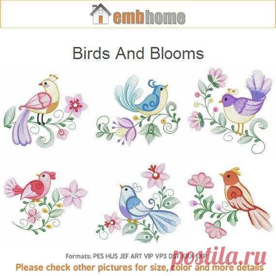 Aves y flores diseños de bordados de máquina instantánea Descargar 4 ...