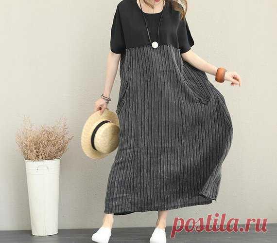 Long linen dress Maxi dress gray dress summer dress black