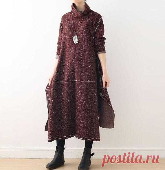 Women Turtleneck dress, Knitted longsleeves Dresses, Loose Sweater dress, midi dress 【Fabric】 Cotton 【Color】 black, Brown 【Size】 Shoulder width 42cm/ 16.4 Sleeve length 52cm/ 20 Bust 110cm / 43 Length 93-105cm/ 36-41  Have any questions please contact me and I will be happy to help you.