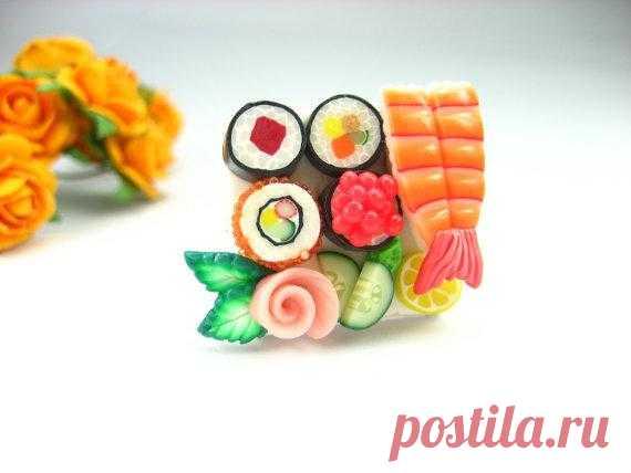 Любительницам японской кухни посвящается - кольцо из полимерной глины за $12,50 USD.
