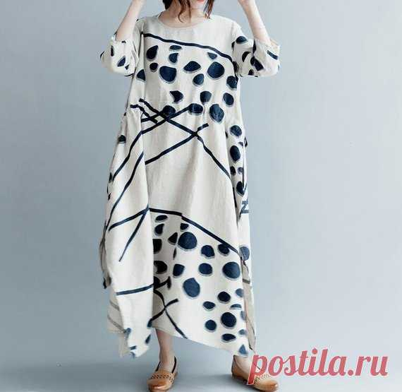 linen dress in Beige Long Maxi dresses Loose summer long