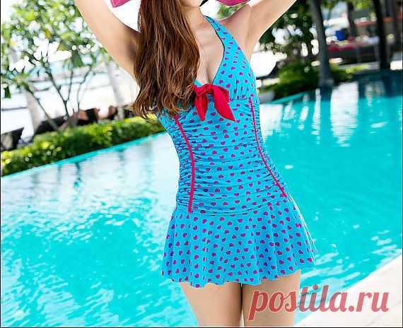 Купальное платье с сердечками - $36.00 USD