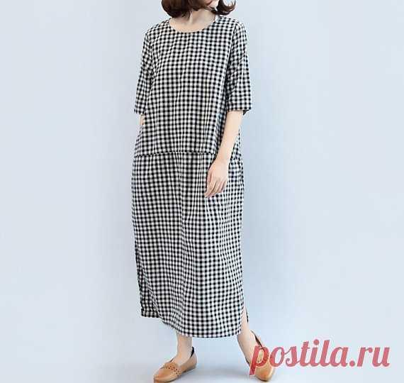 Maxi dress lattice Cotton long dress Women long linen dress