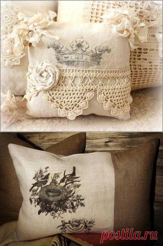 Винтажные подушки из мешковины с принтами. Идеи, варианты, мастер-классы.