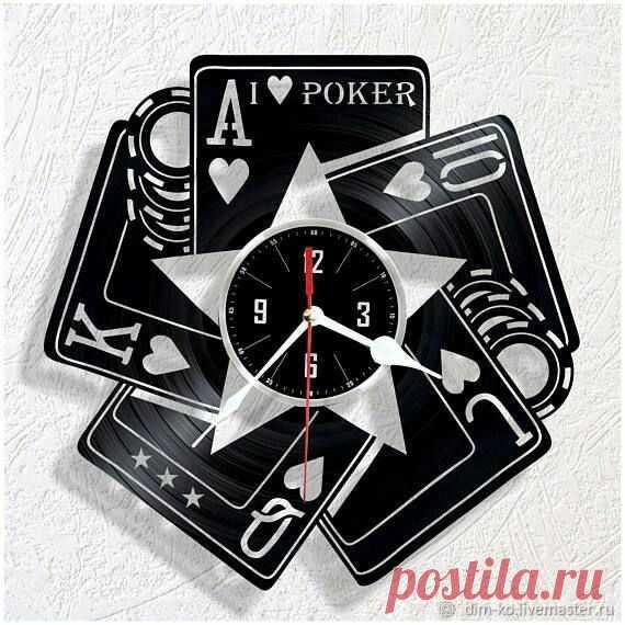 Часы настенные из виниловой пластинки Покер – купить в интернет-магазине на Ярмарке Мастеров с доставкой Часы настенные из виниловой пластинки Покер - купить или заказать в интернет-магазине на Ярмарке Мастеров | Часы изготовлены из старых виниловых пластинок.