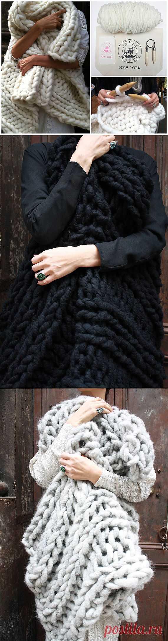 Big Loop Merino Chunky Knit Blanket or Rug Knit Kit от loopymango  крупная пряжа