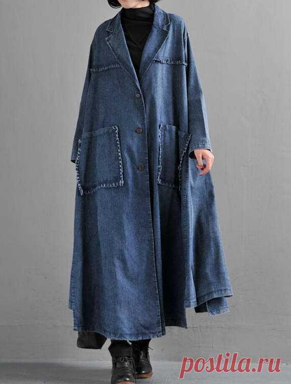 Women Loose cowboy Windbreaker Cotton Long coat cowboy cowgirl