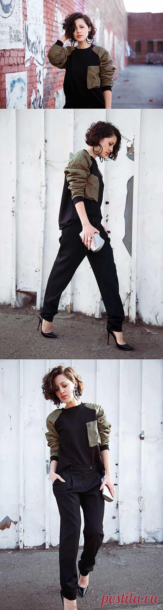 Толстовка со стегаными рукавами / Свитер / Модный сайт о стильной переделке одежды и интерьера
