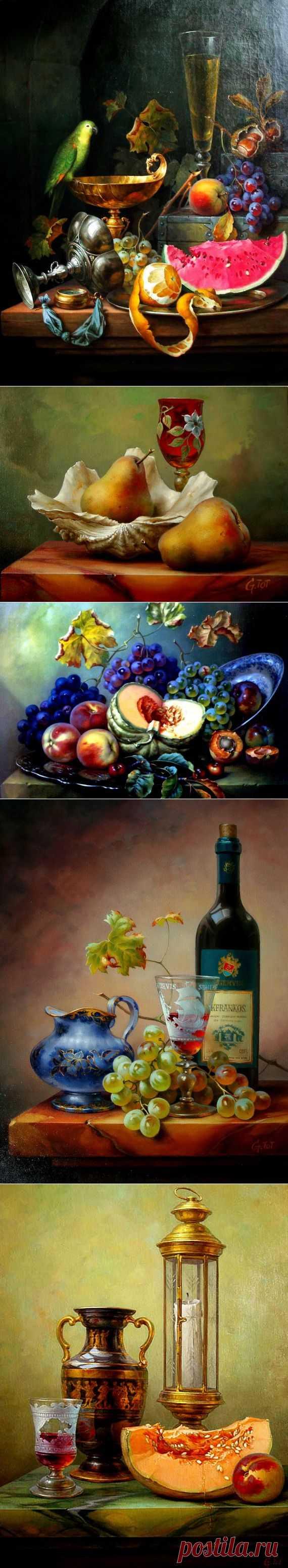 Натюрморты с вином и фруктами от венгерского художника Габора Тота. / Картинки для декупажа / PassionForum - мастер-классы по рукоделию