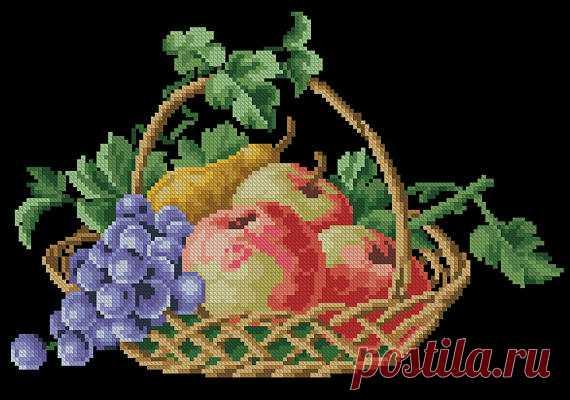 Basket with fruits vintage cross stitch pattern Digital