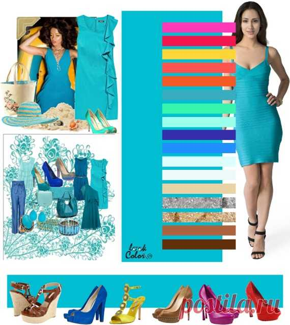 TURQUOISE-BLUE color (the correct combination of flowers in clothes)  \u000d\u000aConsider combinations of flowers turquoise with brightly pink, a red rose, yellow ochre, one-time coral, orange, blue-green, cold lime, aquamarine, violet, blue, it is white blue, white, solomenno beige, silver, gold, bronze, brown. From jewelry gold, silver, pearls, topazes, amber, a coral, turquoise will approach. Any blue shades in stones are welcomed.