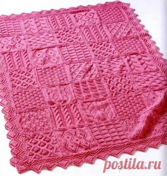 Эффектное одеяло вязаное спицами, описание по ссылке: http://ru4kami.ru/vyazhem-dlya-doma/351-effektnoe-odeyalo-spicami.html