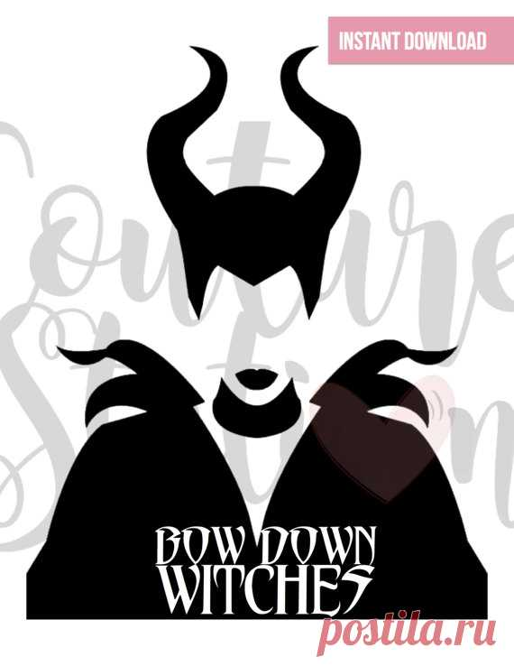 Maleficent Inspired Bow Down Witches Digital Clipart