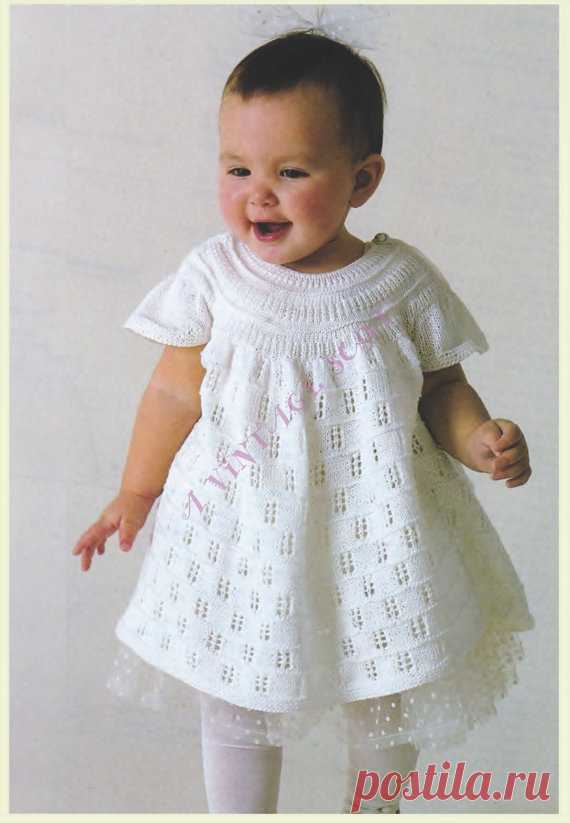 a21c4fd2f Baby Lace Knitted Dress With Cap Sleeves 1980s Knitting Pattern 18 ...