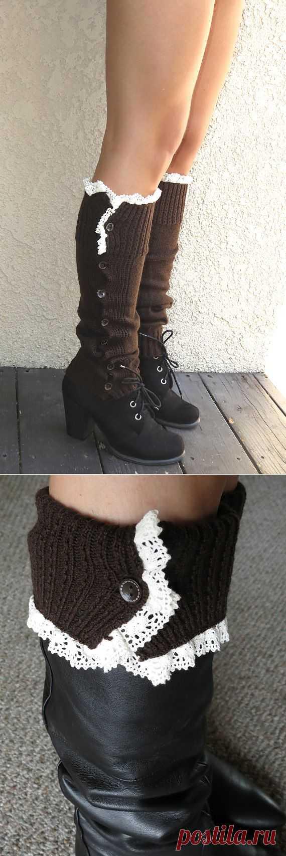 Brown Open Crochet Knit Leg Warmers Boot by DesignerScarvesWorld