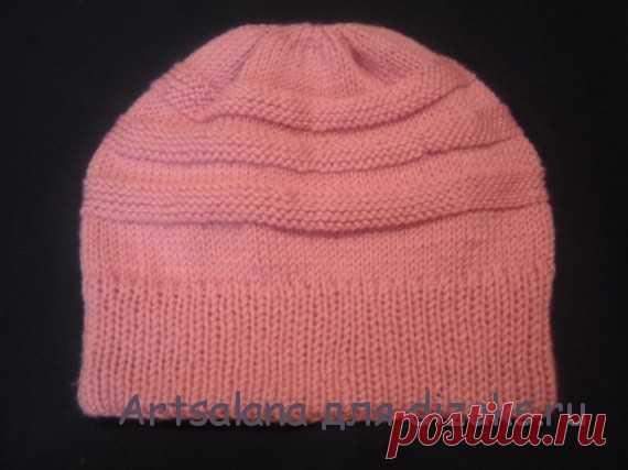 теплая вязаная шапка на зиму с двойной резинкой на круговых спицах