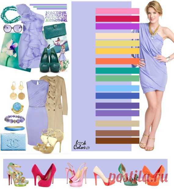 БЛЕДНО-СИРЕНЕВЫЙ цвет (правильное сочетание цветов в одежде)  Бледно сиреневый сочетается с такими цветами, как розовый, красная маджента, пурпурный, желто-бежевый, зелено-желтый, абрикосовый, морковный, мятный, цвет зеленого горошка, небесно-голубой, фиолетово-синий, аметистовые оттенки, золотисто-бежевый, желто-коричневые оттенки.