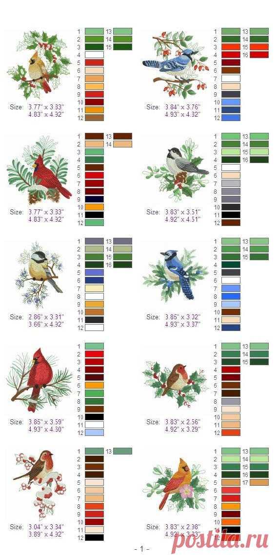 Diseños de Navidad aves 2 máquina bordado diseños Pack instantánea ...