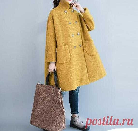 Women wool overcoat Wool winter Coat double breasted Coat | Etsy 【Fabric】  wool, polyester 【Color】 Yellow, dark blue, light gray 【Size】 Shoulder width is not limited Shoulder + sleeve length 63cm/ 25 Bust 140cm/ 54 Big arm circumference 35cm/ 14 Length 83cm / 32 The hem is 156cm/ 60  Washing & Care instructions: -Hand wash or gently machine washable do not tumble