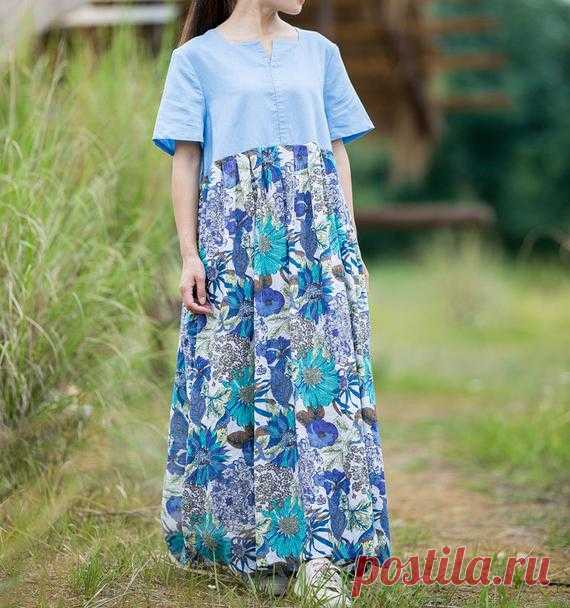 Blue Summer maxi dress full length Dresses skater dress   Etsy 【Fabric】 Cotton, linen 【Color】 blue 【Size】 Shoulder width 40cm/ 16 sleeve length 24cm / 9 Cuff circumference 37cm / 14 Bust 110cm / 58 Length 132cm/ 52      Washing & Care instructions: -Hand wash or gently machine washable do not tumble dry -Gentle wash cycle (40°C) -If you feel like ironing