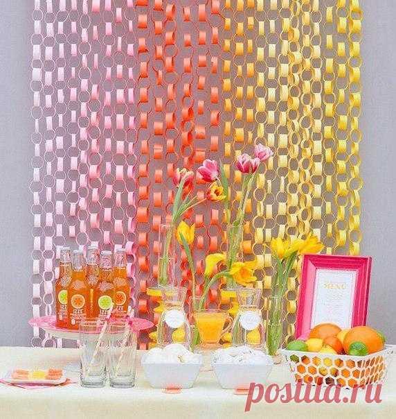 Радужные гирлянды из цветной бумаги