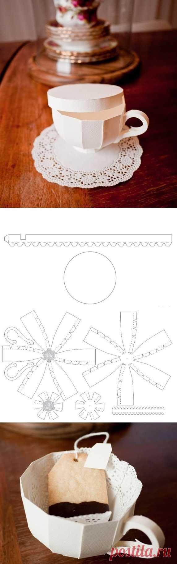 Потрясающе необычная коробочка- чашка. (Мастер-класс с шаблоном по клику на картинку). Обратите внимание какие печенюшки забавные можно сделать!