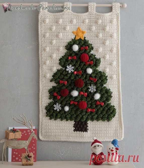 Панно с елочкой, снеговик и Санта-Клаус крючком