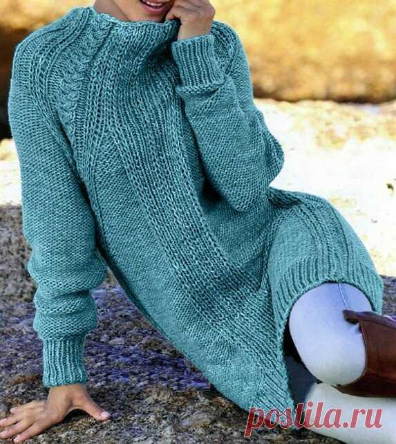 Простой способ связать модное платье с рукавами реглан (описание)   Идеи рукоделия   Яндекс Дзен
