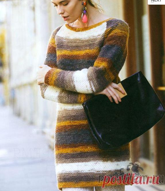 Пуловер – туника спицами для холодного времени года.