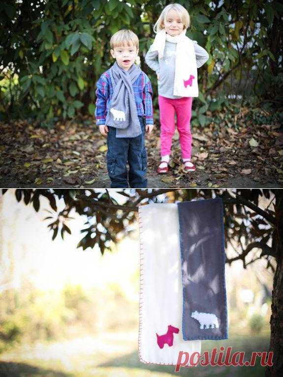 Детские шарфы с аппликациями