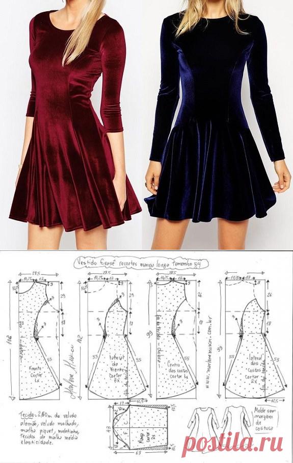 Выкройка очень красивого платья с рукавом из эластичной ткани