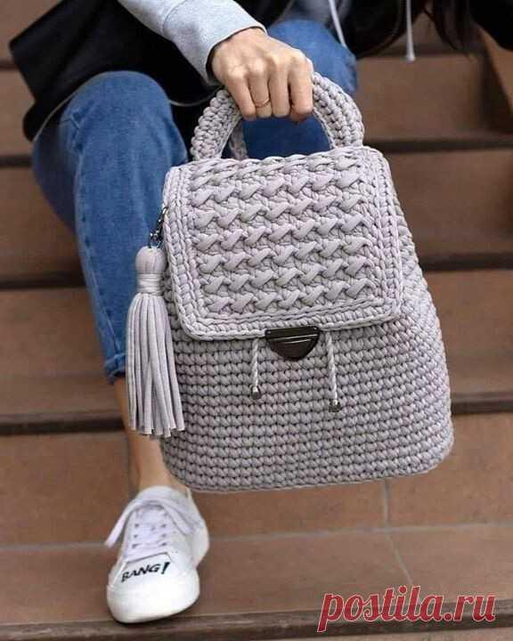 Рюкзаки из трикотажной пряжи. Крючок. Идеи для вдохновения.