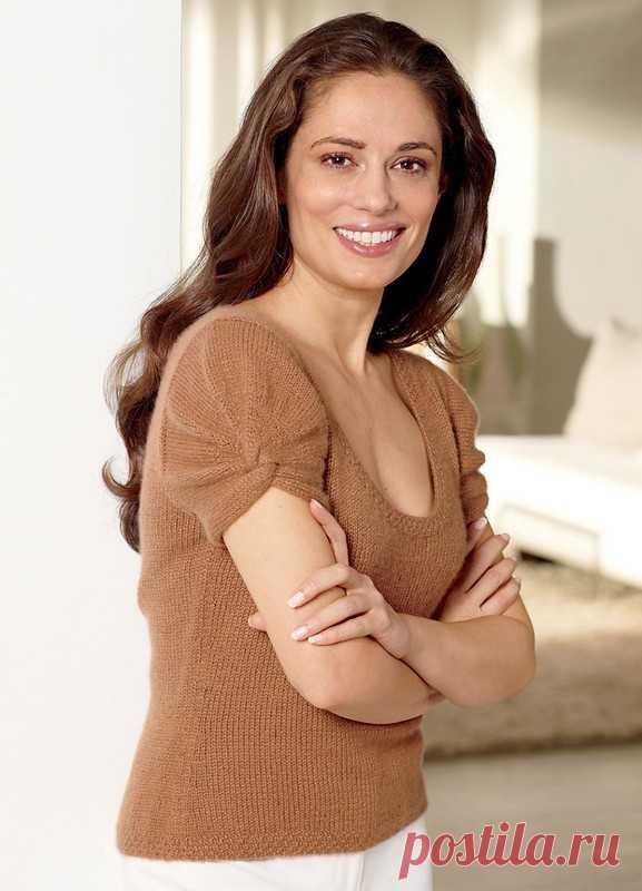 Топ вязаный спицами с рукавом фонариком. Top knitting patterns | Вязание для всей семьи