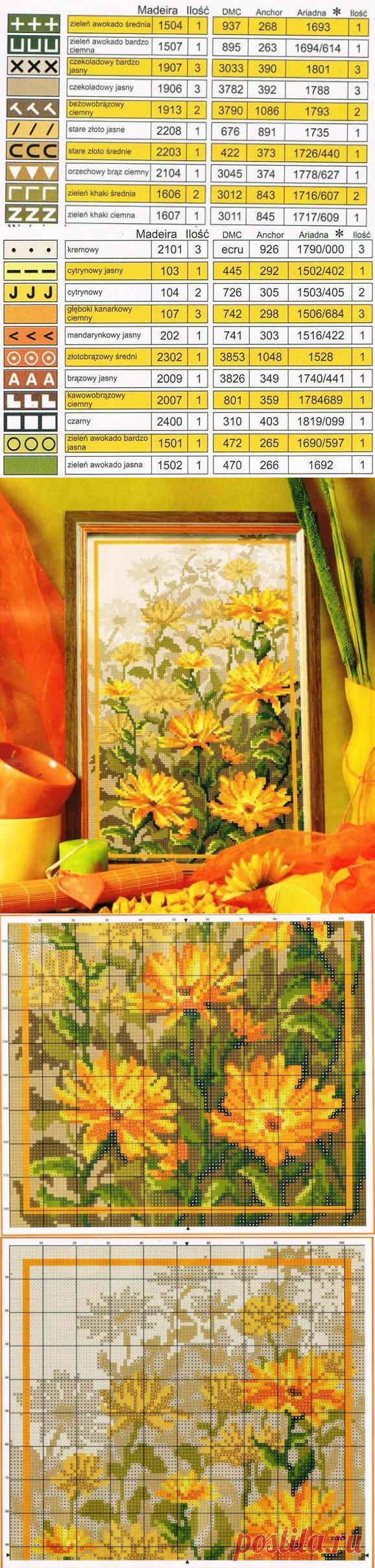 Вышитые цветы в желтых тонах — Сделай сам, идеи для творчества - DIY Ideas
