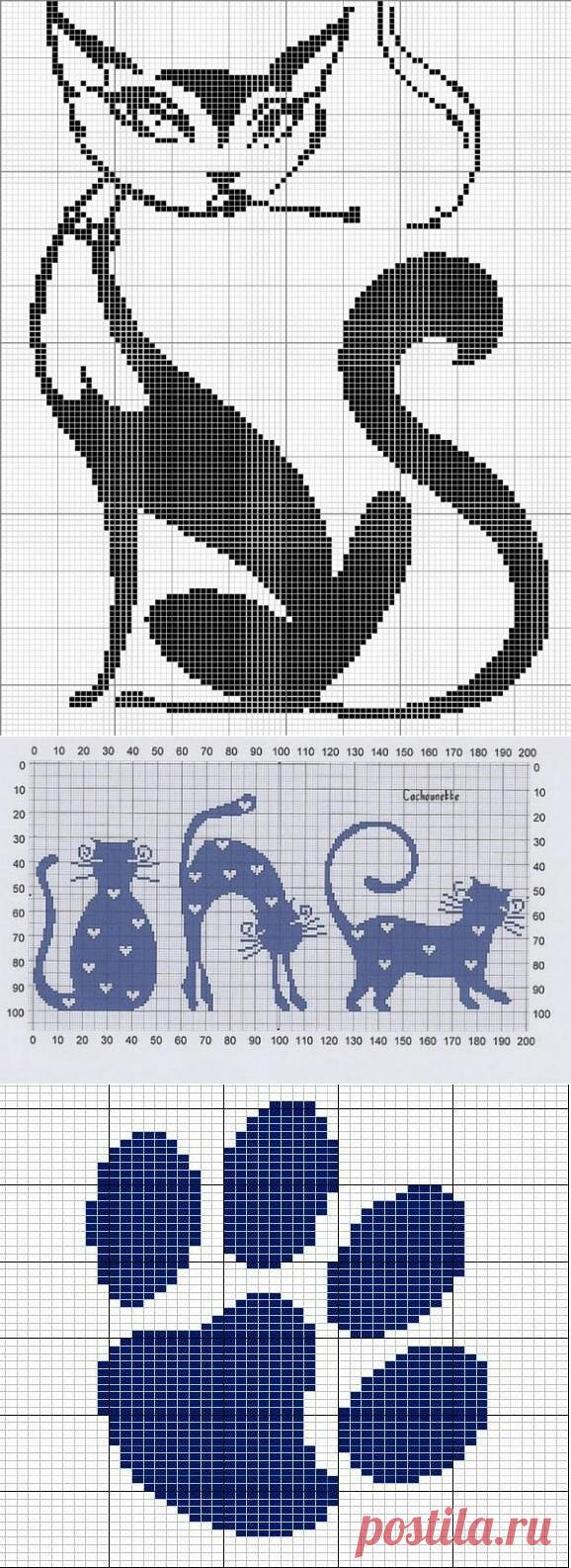 Раскрываем тему котиков в филейном вязании - небольшая подборка схем🐾 | Левреткоман-оч.умелец | Яндекс Дзен
