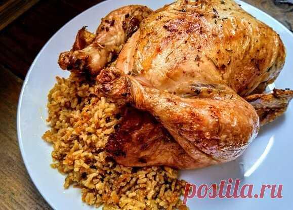 Фаршированная курица с рисом и специями