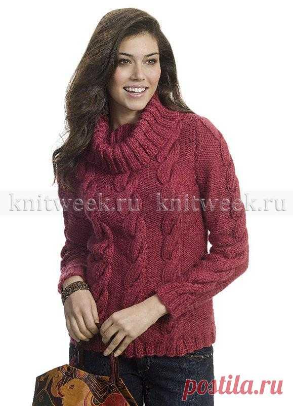 МОДА SIZE PLUS. Теплый и уютный женский свитер спицами с узором из жгутов