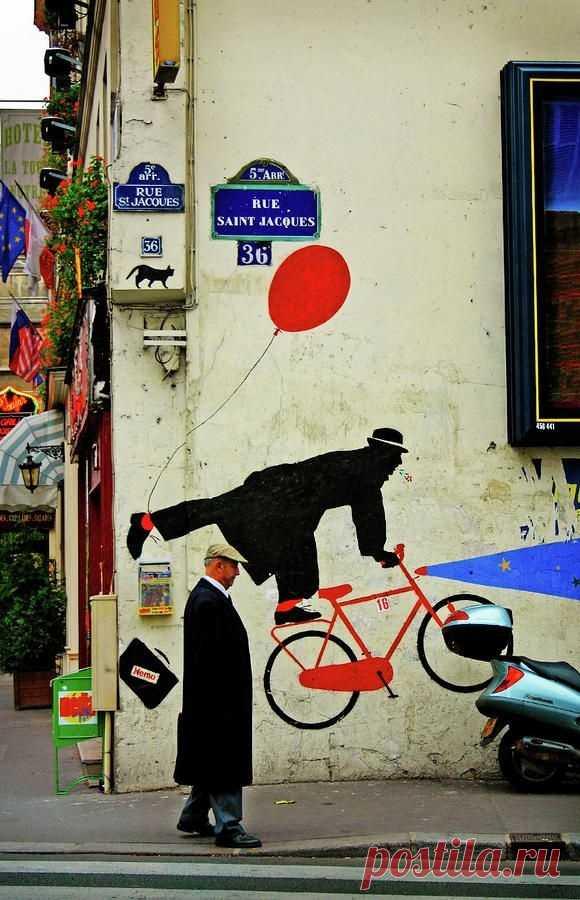 Граффити с велосипедистом Модная одежда и дизайн интерьера своими руками