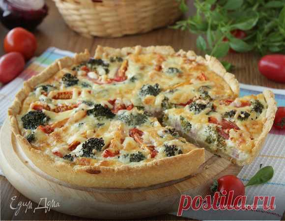 Киш с брокколи, ветчиной и помидорами, пошаговый рецепт, фото, ингредиенты - ярослава