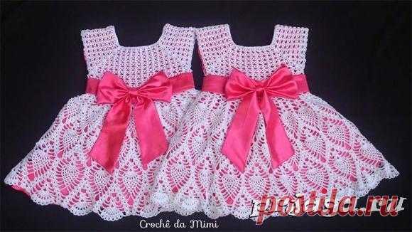 Подборка детских платьев, вязанных крючком