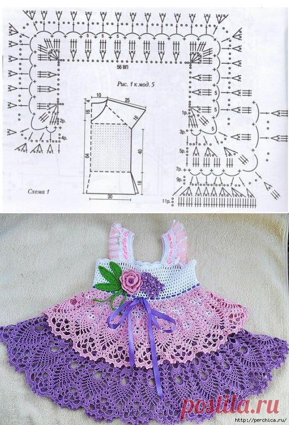 кокетка крючком для детского платья платье для девочки с