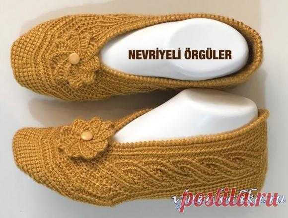 Тунисское вязание-тапочки