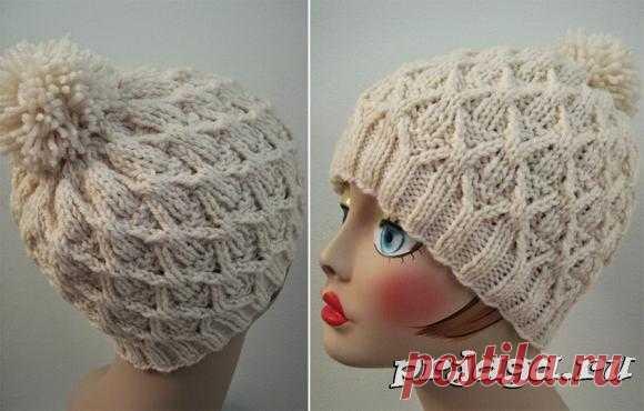 Теплая шапка «Плетенка» с большим помпоном на макушке (Вязание спицами) | Журнал Вдохновение Рукодельницы