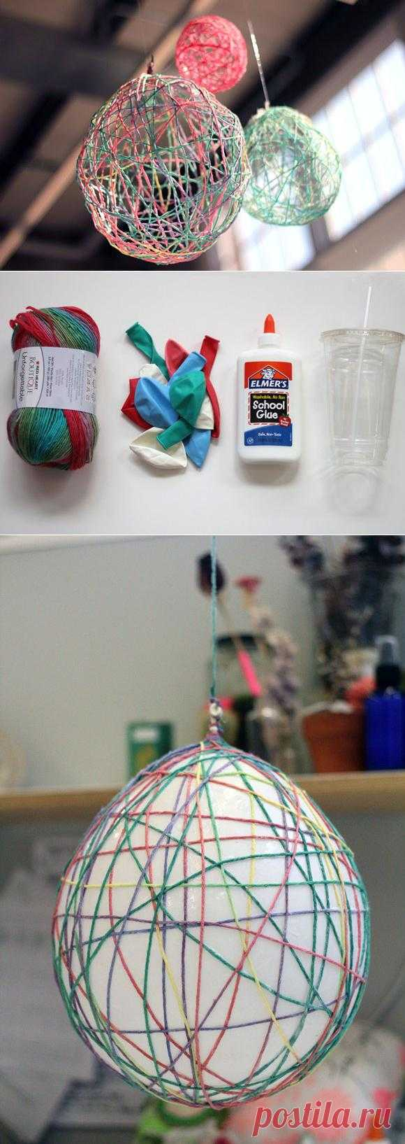 Простая идея для интерьера: шарики из ниток